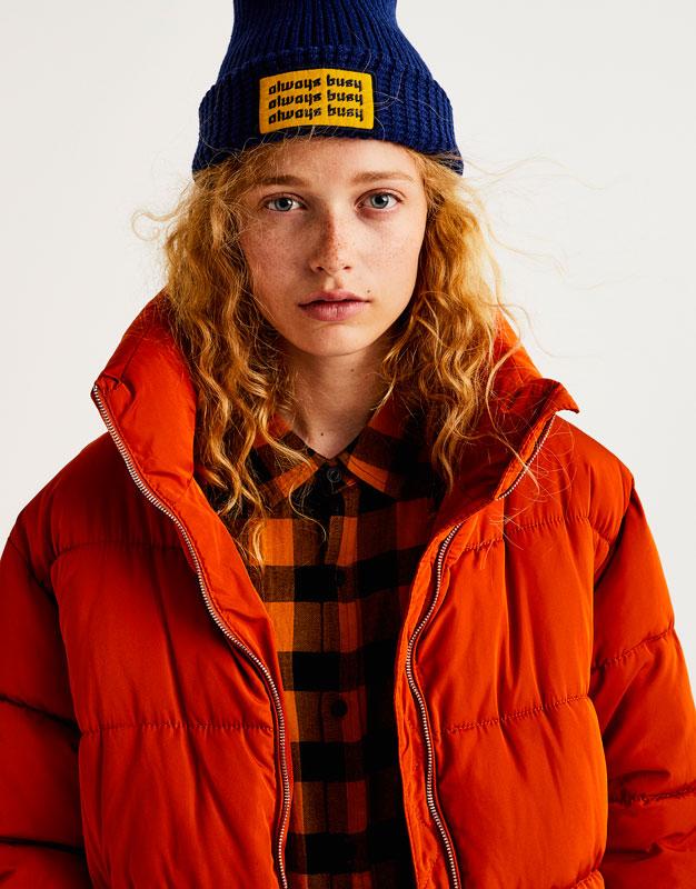 Pull&Bear - femme - vêtements - manteaux et blousons - blouson matelassé col cheminée - orange - 09715300-I2017