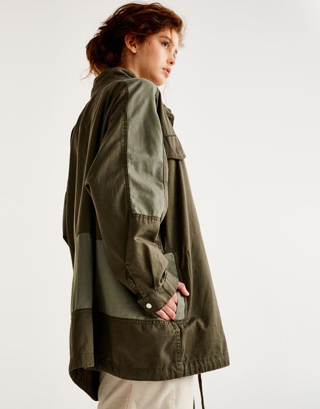 Safari jacket with contrasting trims