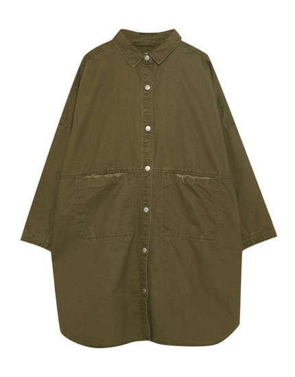 Long overshirt with embroidered back