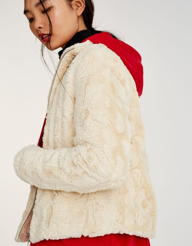 Pull&Bear - femme - vêtements - manteaux et blousons - blouson fausse fourrure - écru - 09715304-I2017
