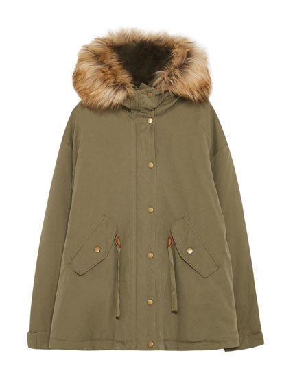 Short parka with removable faux fur hood