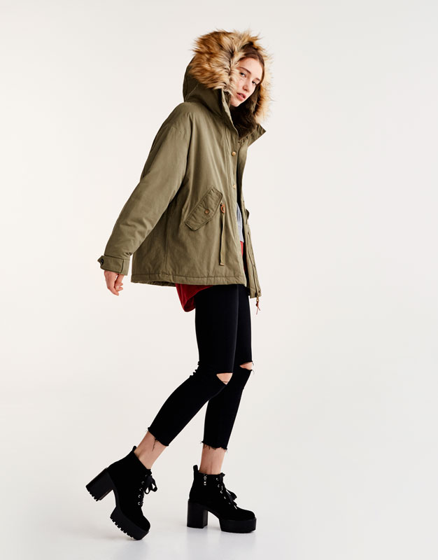 Short parka with removable faux fur hood - Coats and jackets ...
