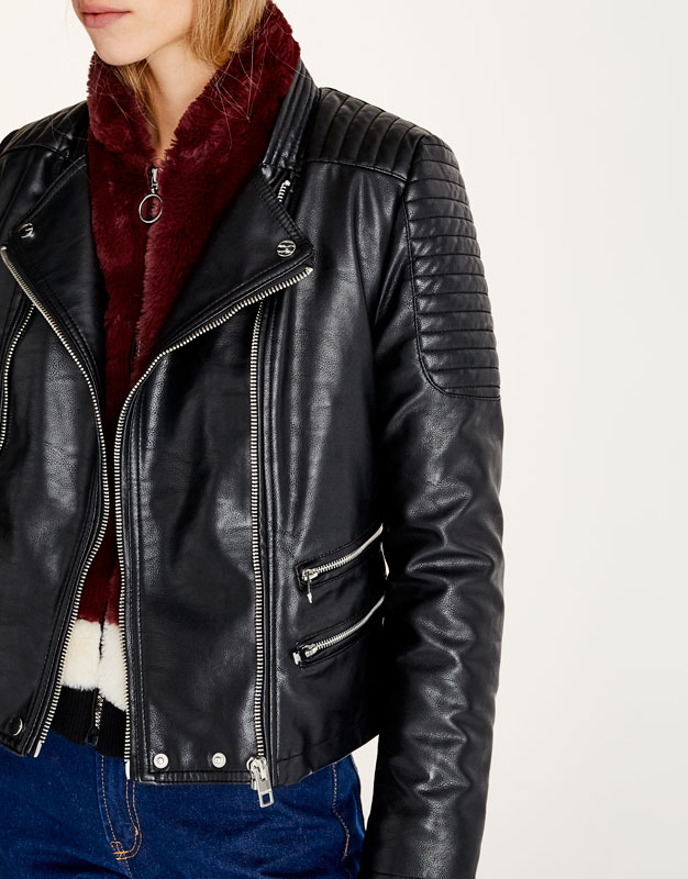 Biker jacket with removable fur collar