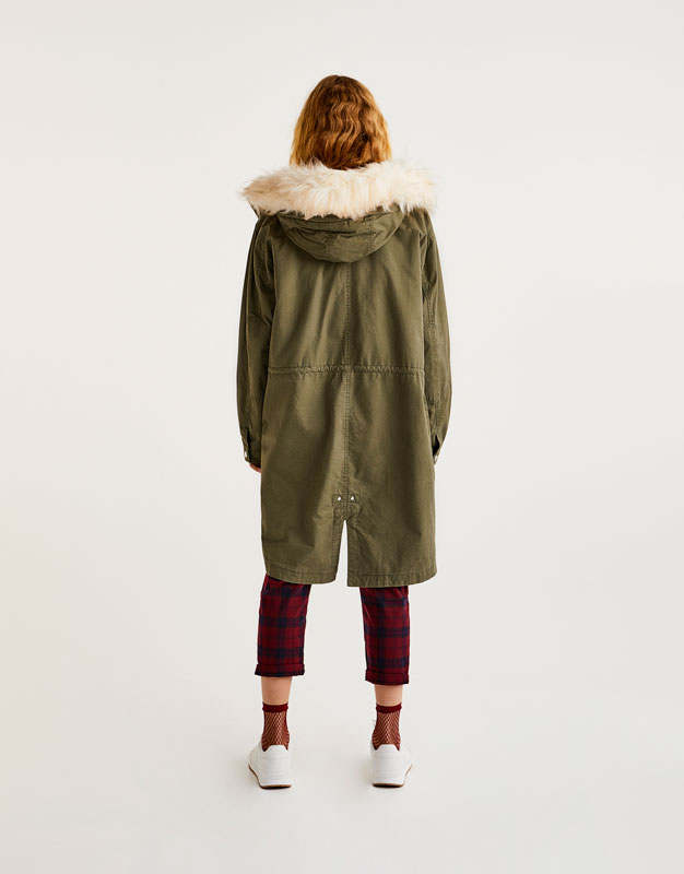 Lightweight parka with removable faux fur hood