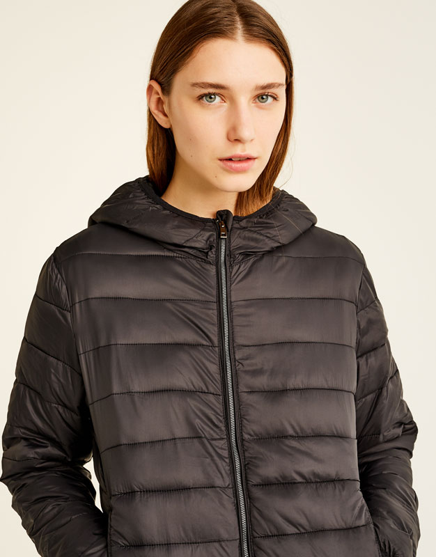 Hooded nylon jacket