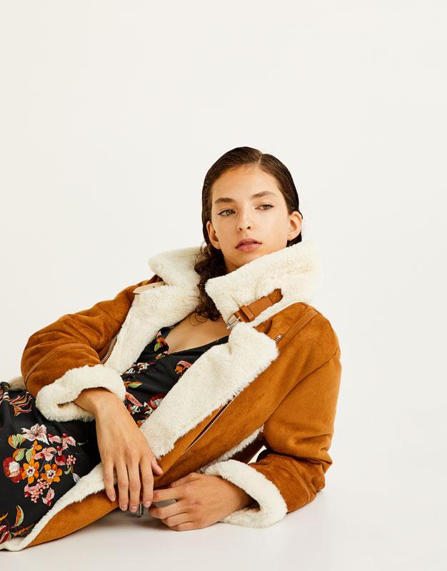 Pull&Bear - femme - vêtements - manteaux et blousons - blouson biker imitation daim intérieur fourrure - marron - 09715330-I2017