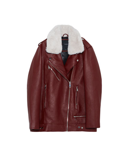 Oversized faux leather jacket with removable faux fur collar