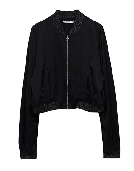 Cropped flowing bomber jacket