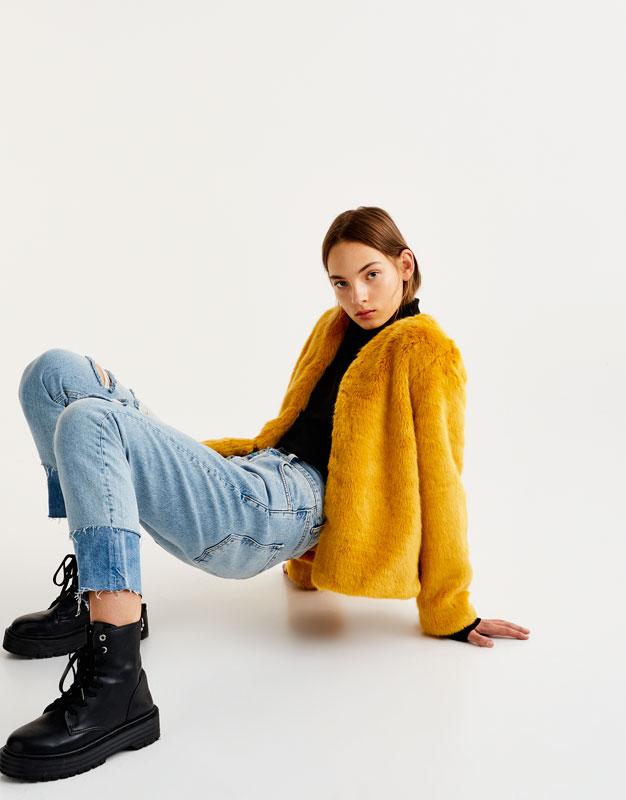 Pull&Bear - femme - vêtements - manteaux et blousons - blouson fausse fourrure - moutarde - 09715347-I2017