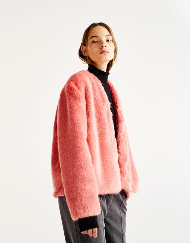 Pull&Bear - femme - vêtements - manteaux et blousons - blouson fausse fourrure - rose - 09715347-I2017
