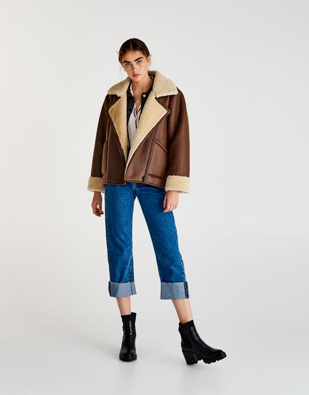 Pull&Bear - femme - vêtements - manteaux et blousons - blouson double face oversize - marron - 09715348-I2017