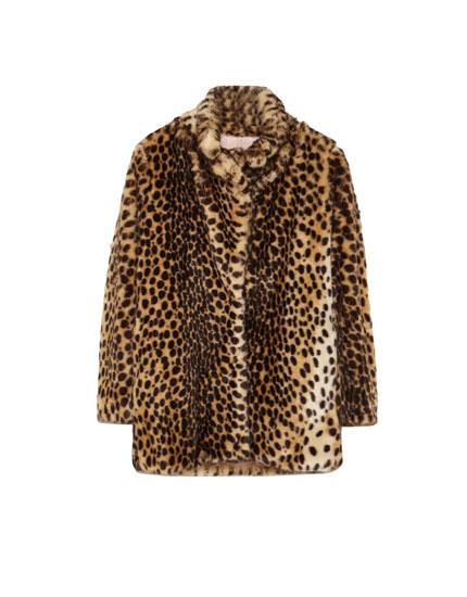 Manteau fausse fourrure imprimé léopard