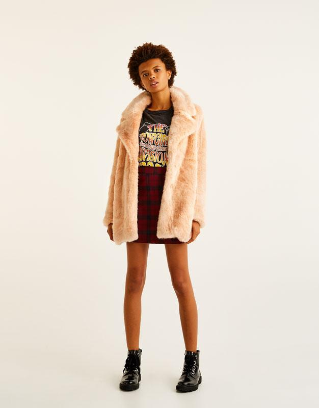 Pull&Bear - femme - vêtements - manteaux et blousons - manteau fausse fourrure rose - rose pastel - 09751308-I2017