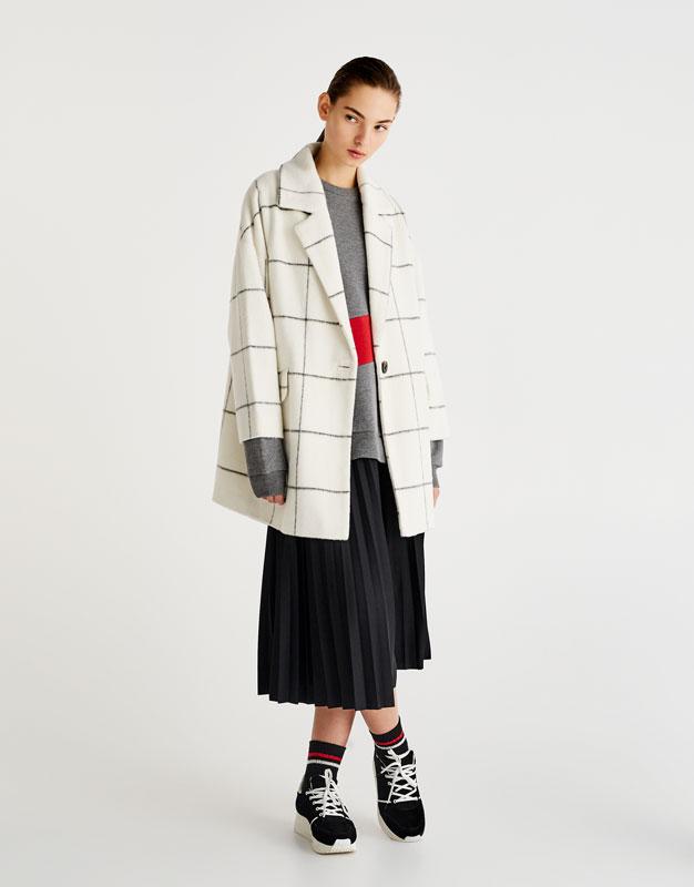 Pull&Bear - femme - vêtements - manteaux et blousons - manteau cocoon à carreaux - écru - 09751315-I2017