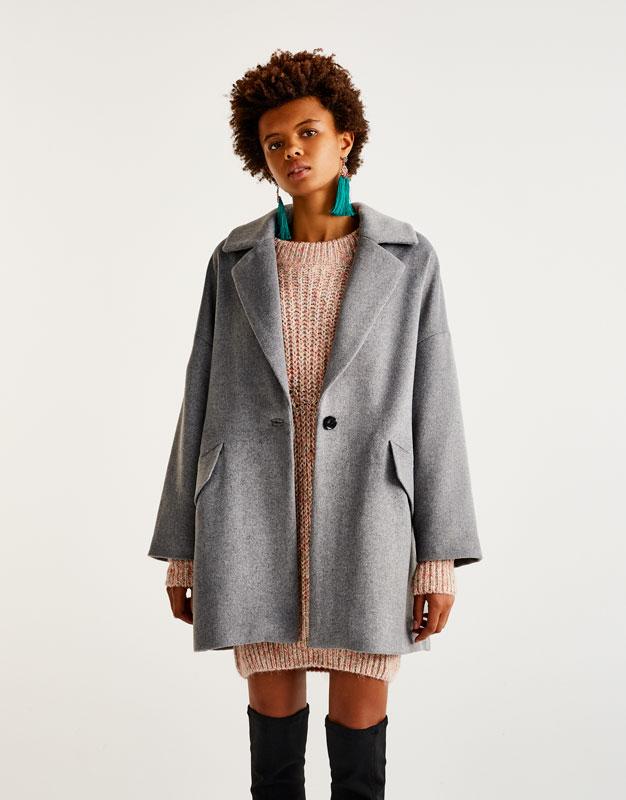 Pull&Bear - femme - vêtements - manteaux et blousons - manteau cocoon - gris - 09751317-I2017