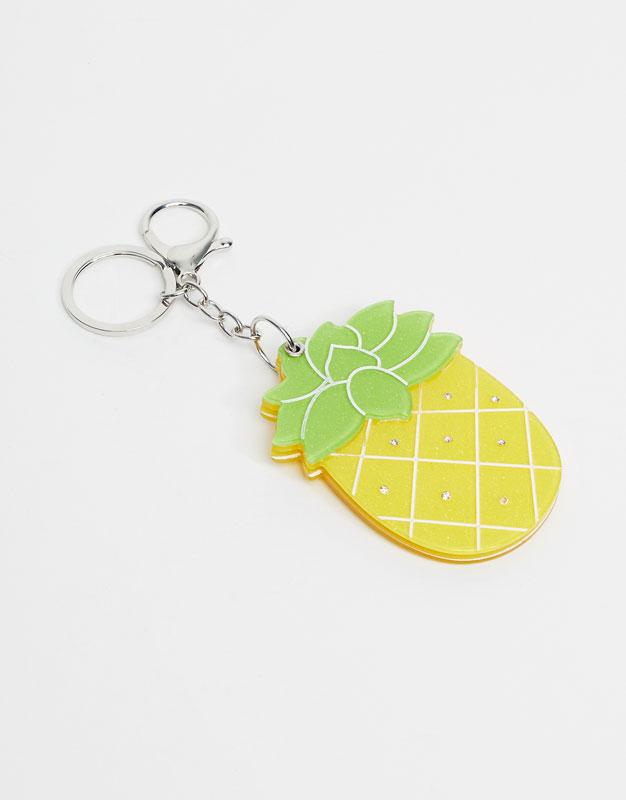 Porte-clé ananas miroir