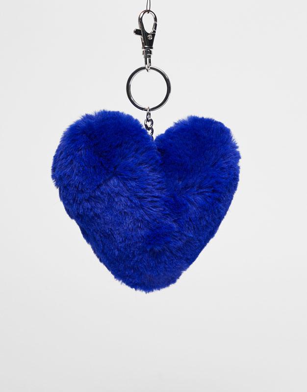 Plush heart keyring