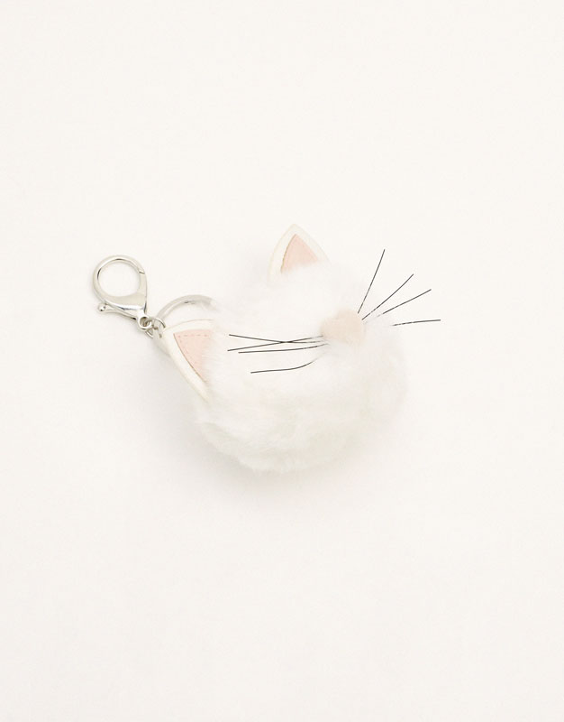Plush cat keyring