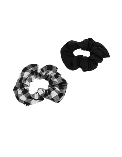 2-Pack of gingham check hair ties
