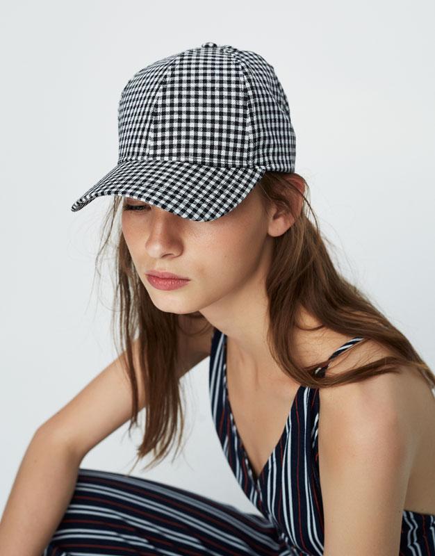 Gingham baseball cap
