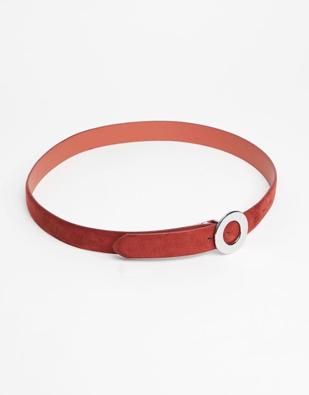 Belt with hoop buckle