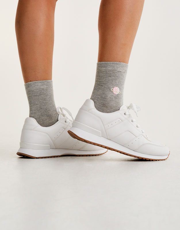 Socks with embroidered planets