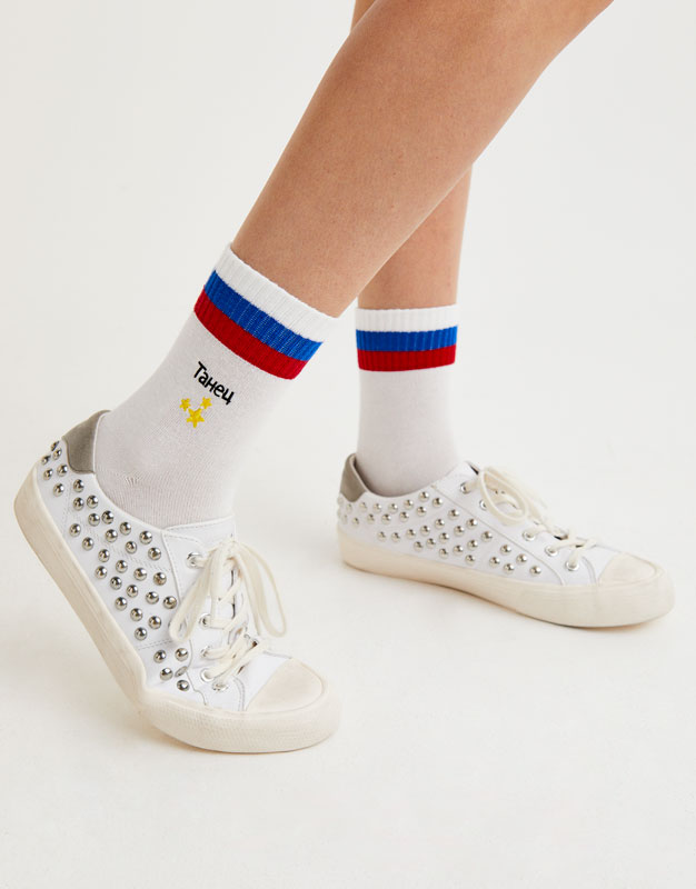 Embroidered sports socks