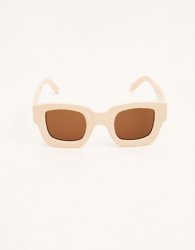 Square cream sunglasses