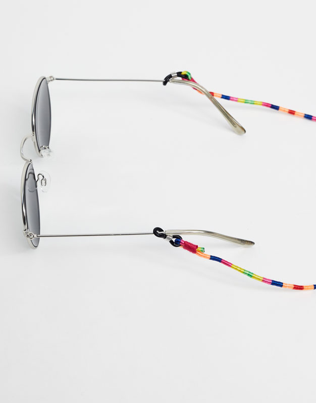 Round striped sunglasses strap