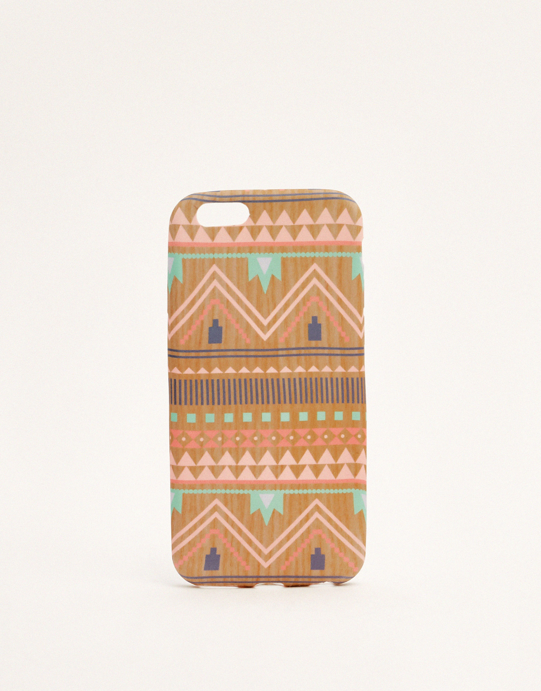 Faux wood tribal print phone case
