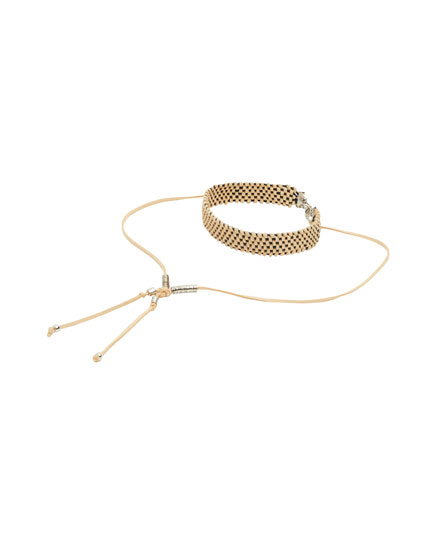 Braided cord choker necklace