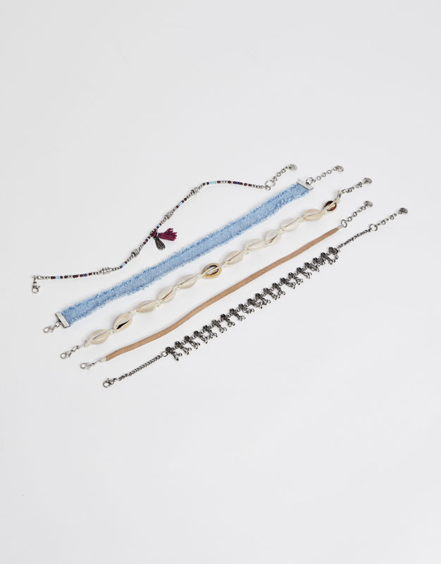 5-Pack of beach choker necklaces