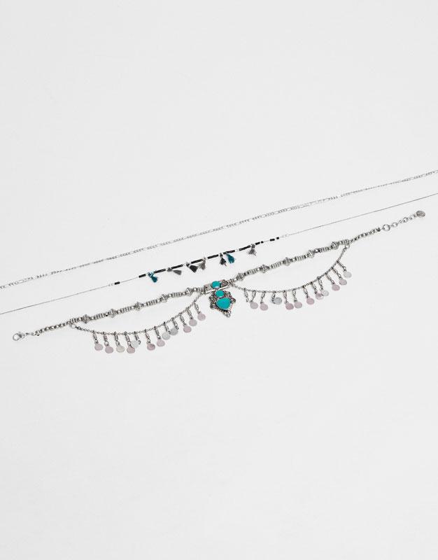 Lot 3 colliers boho détail turquoise