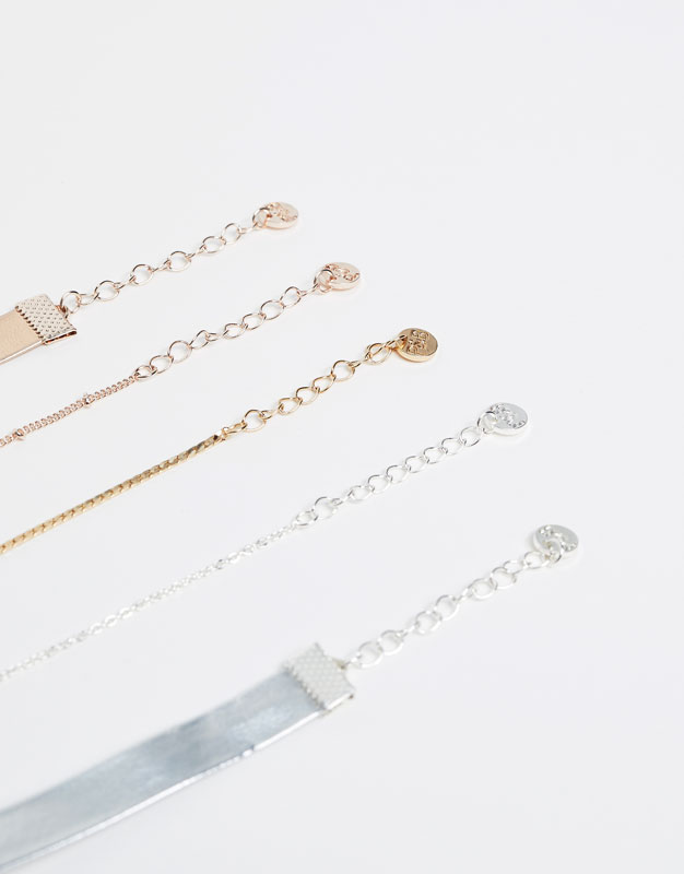 5-pack of metallic choker necklaces