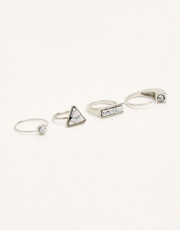 4-pack of marble-like rings