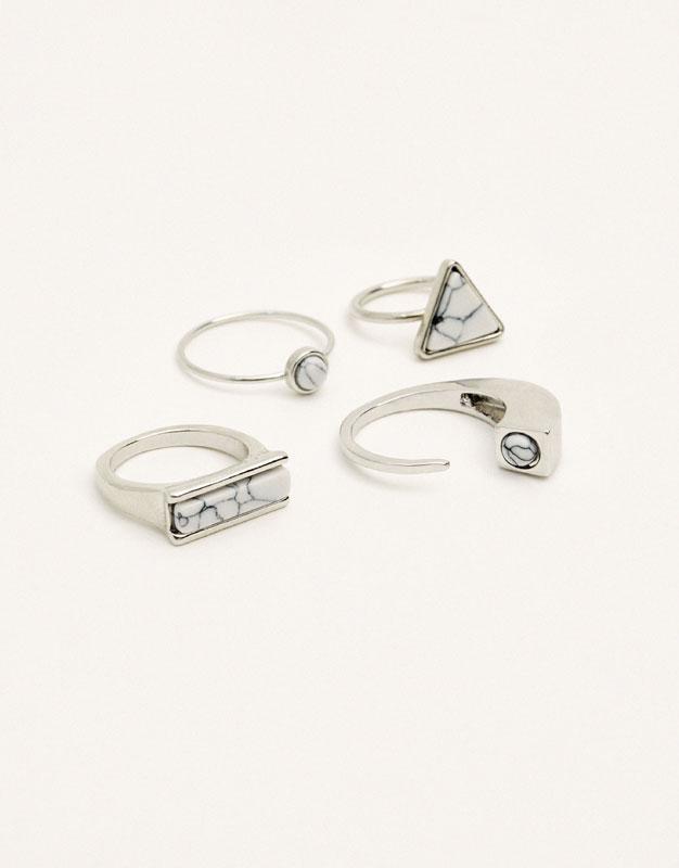 Paquet de 4 anells marbre