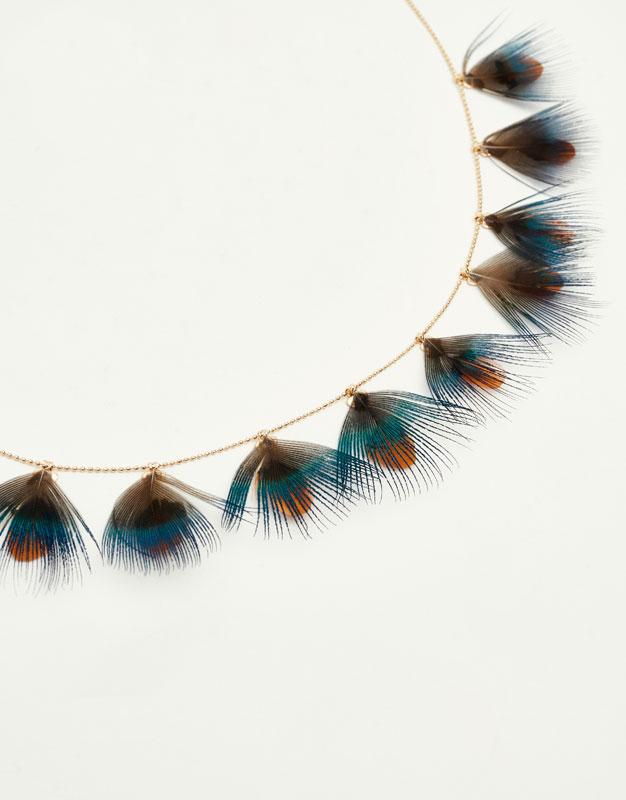 Collier chaîne et plumes