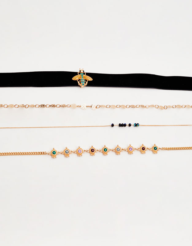 4-pack of assorted choker necklaces