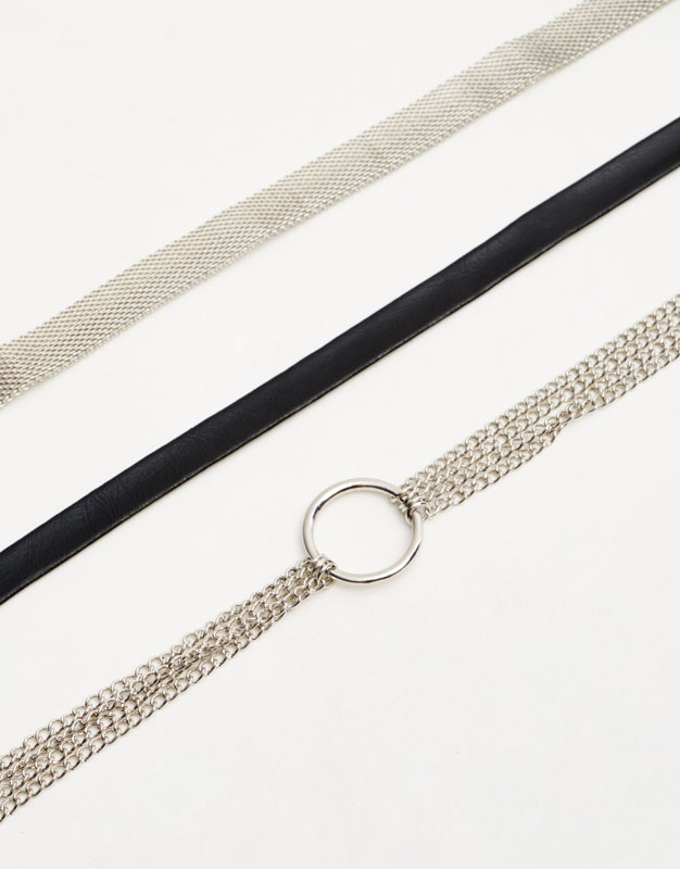 3-pack of chain choker necklaces