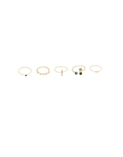 Pack of assorted shiny rings