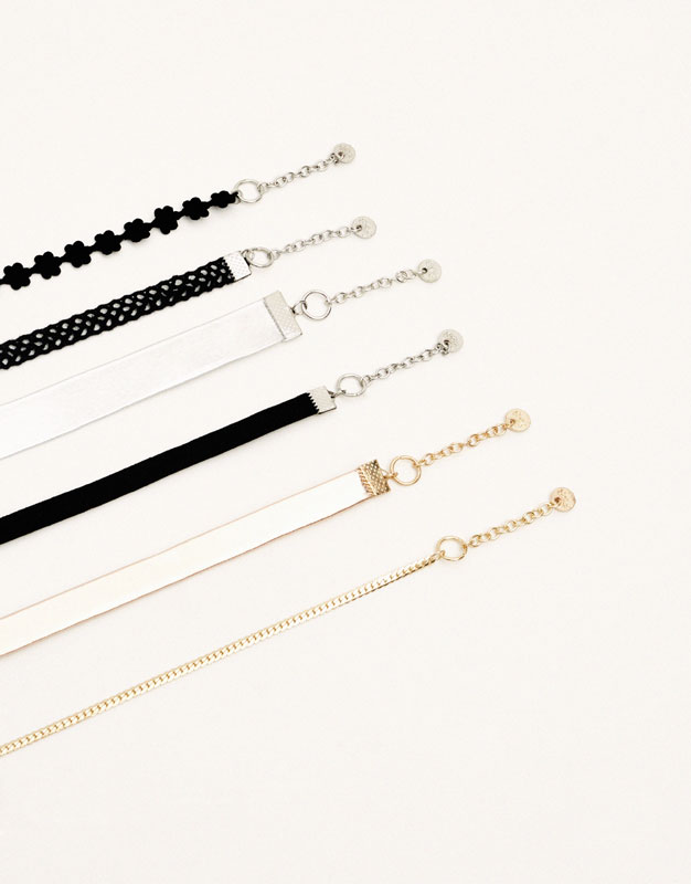 Pack 6 chokers metalizados