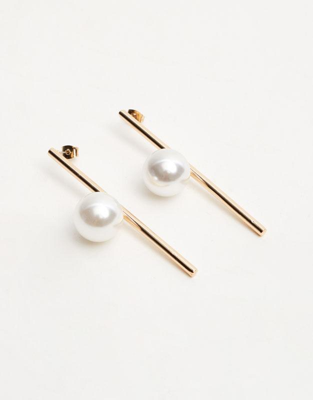 Pendientes barra perla