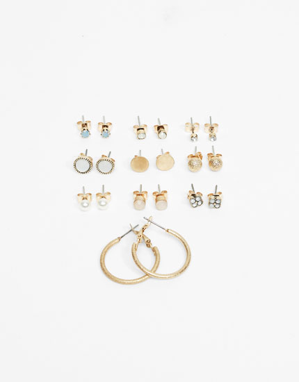 10-pack of studs and hoop earrings