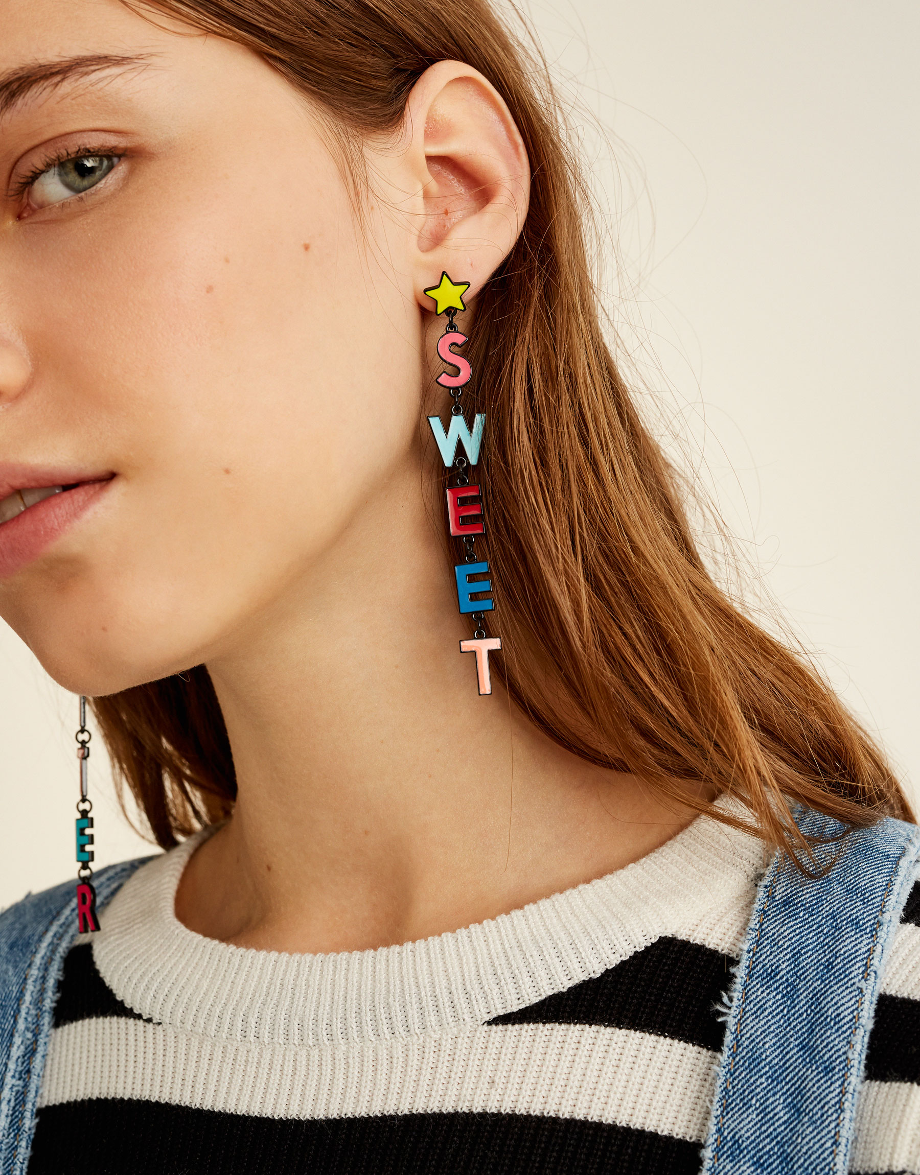 Colourful lettering earrings