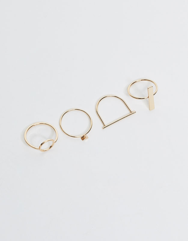 4-pack of geometric-shaped rings