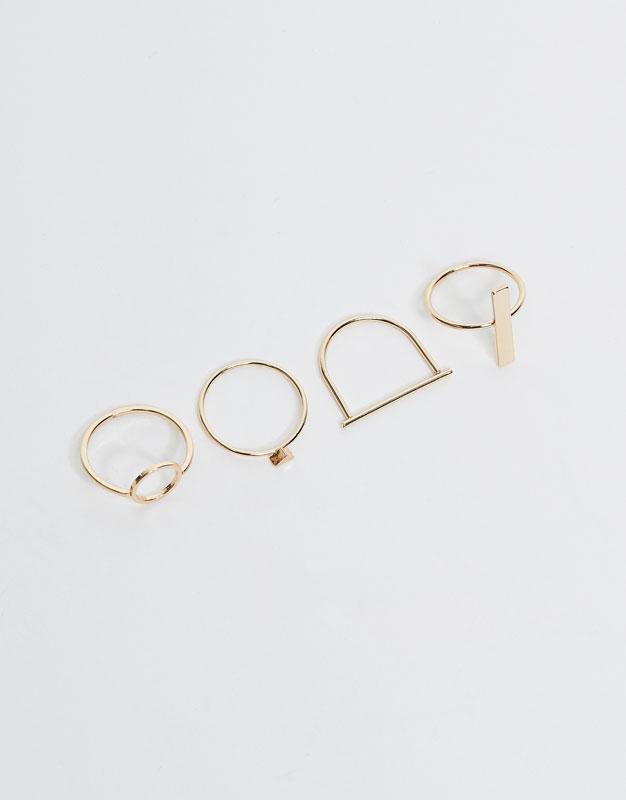 4er-Pack geometrische Ringe