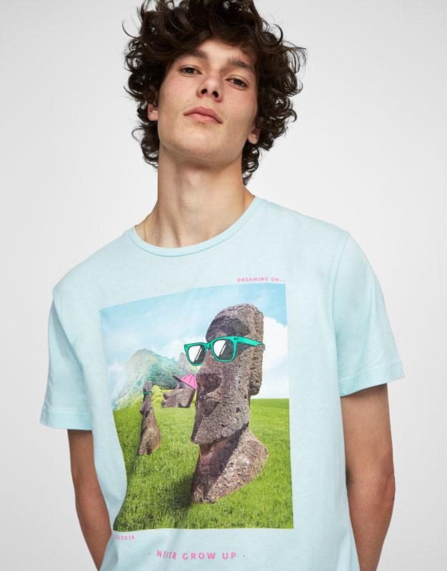 Camiseta estampado estatuas