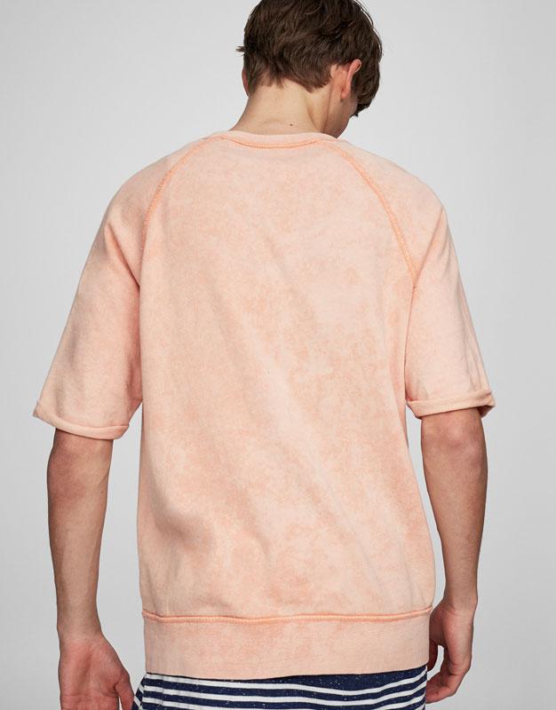 Sweatshirt-style T-shirt with slogan