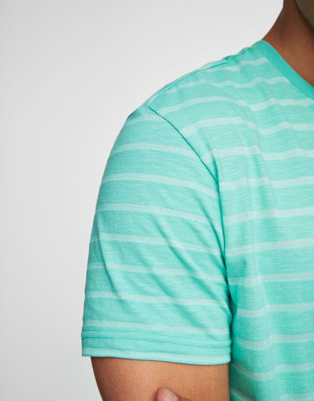 Gestreiftes T-Shirt mit Rundausschnitt