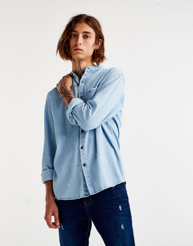 Camisa denim cuello mao bleach